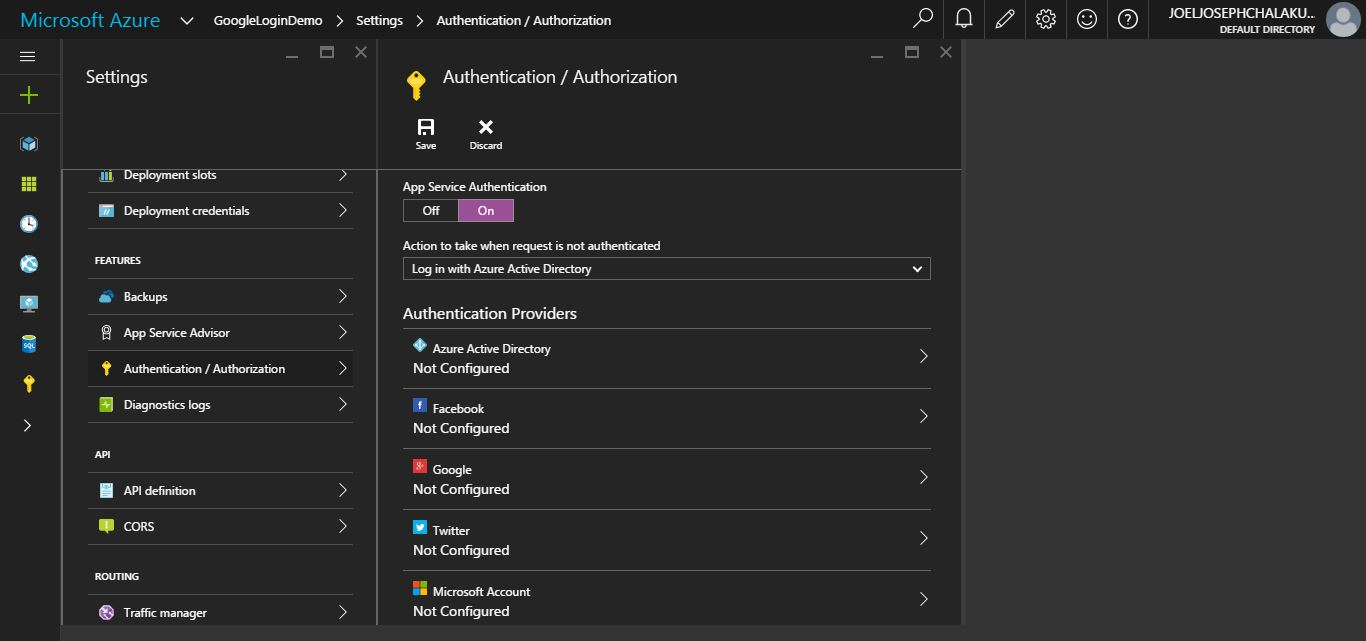 Authedicatin-Enable-Azure